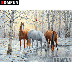 5D Diamond Painting Horses by the Snowy Pond Kit