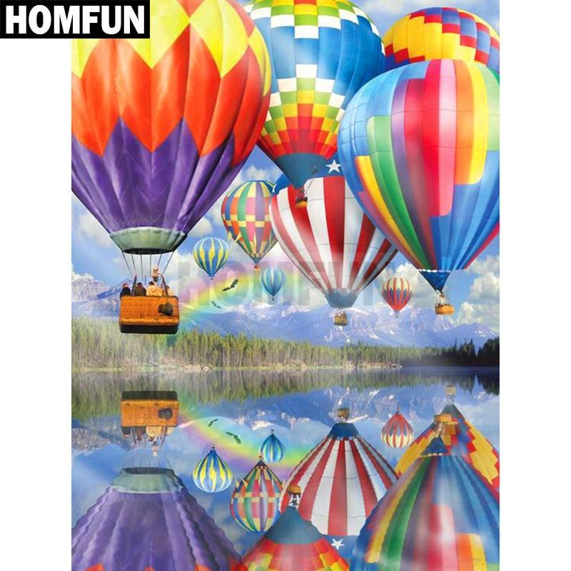 5D Diamond Painting Hot Air Balloons Over the Lake Kit