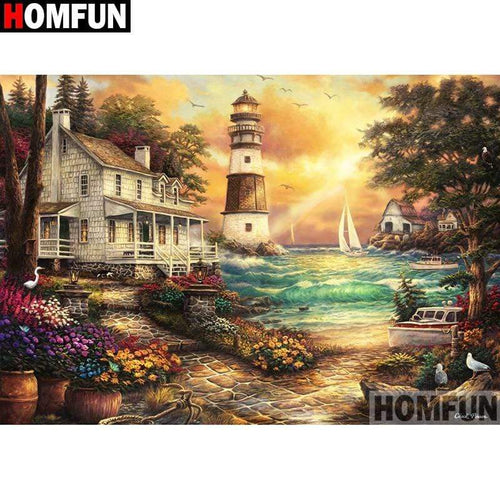 5D Diamond Painting House and Lighthouse by the Sea Kit