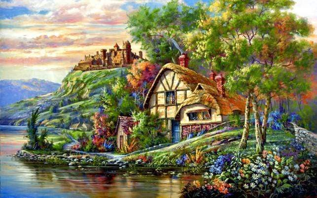 5D Diamond Painting House by the Castle Kit