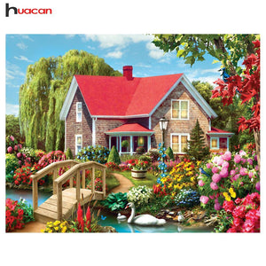 5D Diamond Painting House By the River Kit