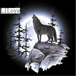 5D Diamond Painting Howl at the Moon Wolf Kit