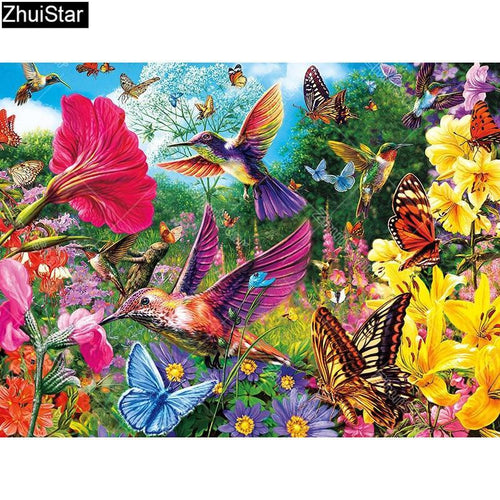 5D Diamond Painting Hummingbirds and Butterflies Kit