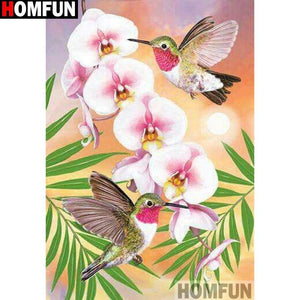 5D Diamond Painting Hummingbirds and Orchids Kit