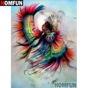 5D Diamond Painting Indian Feathers Chief Kit