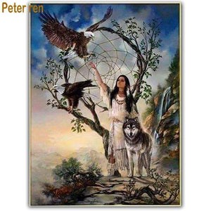 5D Diamond Painting Indian Woman Hands of Water Kit