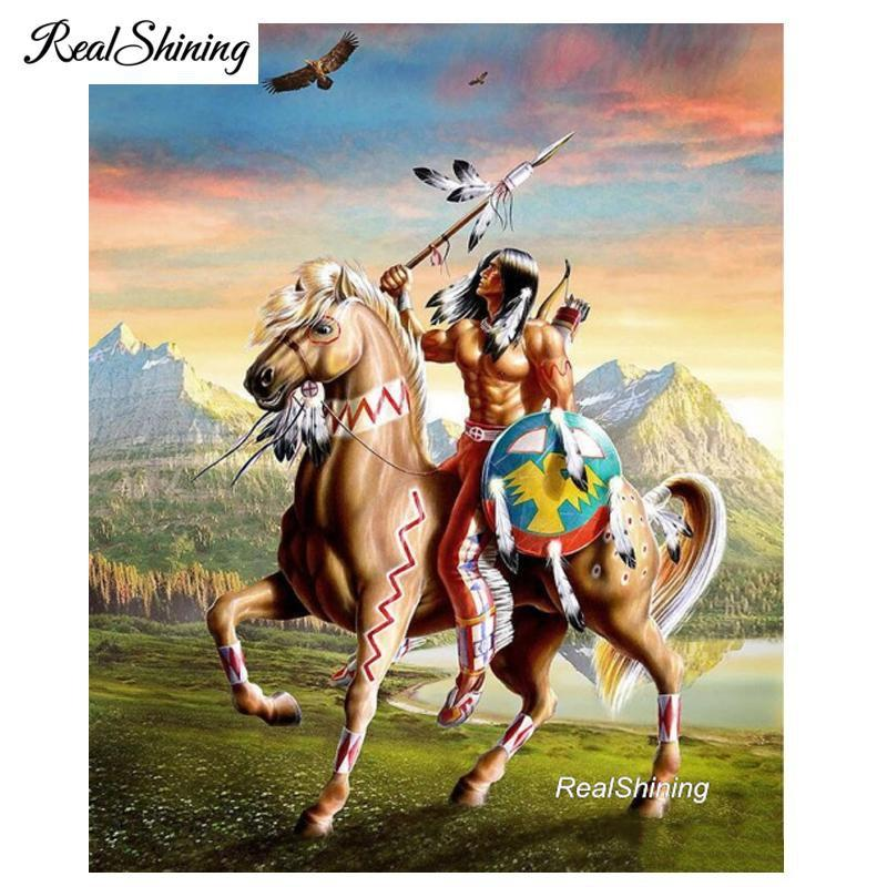 5D Diamond Painting Indian Warrior and Horse Kit