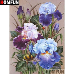 5D Diamond Painting Iris Flowers and a Bee Kit