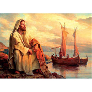 5D Diamond Painting Jesus By the Fishing Boats Kit