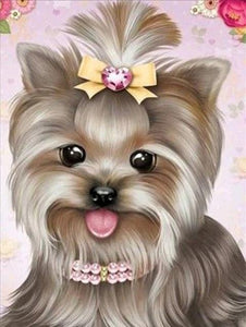 5D Diamond Painting Jewel Heart Bow Yorkie Kit