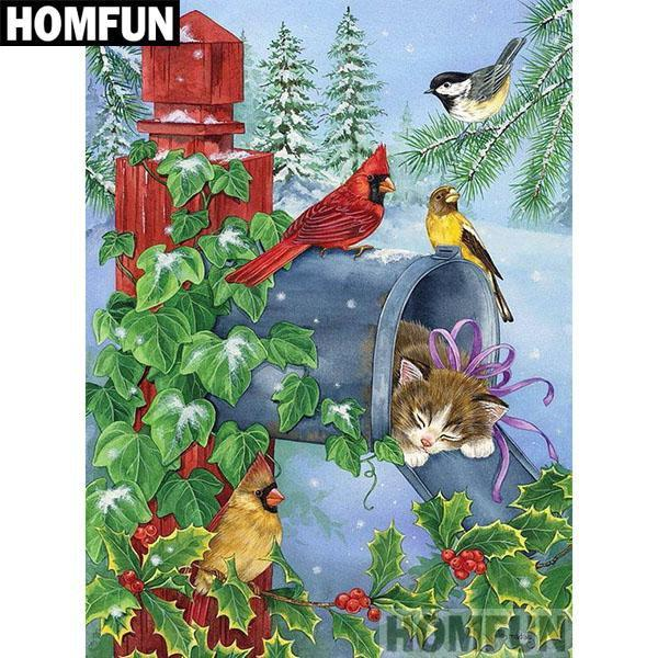 5D Diamond Painting Kitten and Bird Mail Box Kit
