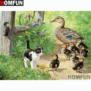 5D Diamond Painting Kitten and the Ducklings Kit