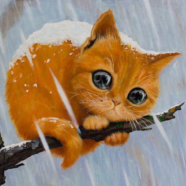 5D Diamond Painting Kitty on Branch Kit