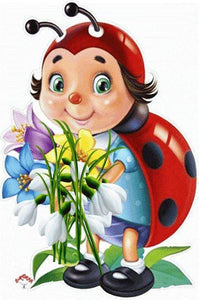 5D Diamond Painting Ladybug Flowers Kit