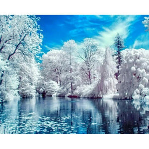 5D Diamond Painting Lake in Winter Kit