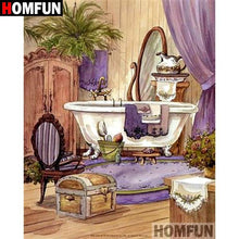 5D Diamond Painting Lavender Curtain Bathroom Kit