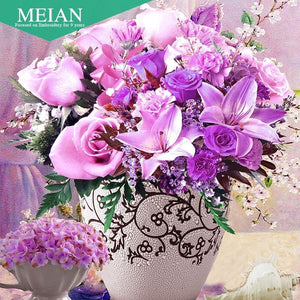 5D Diamond Painting Lavender Flower Vase Bouquet Kit