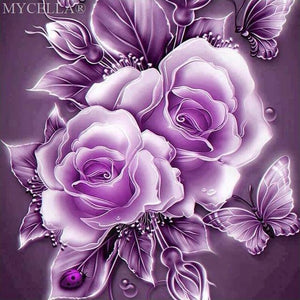 5D Diamond Painting Lavender Roses and Butterflies Kit