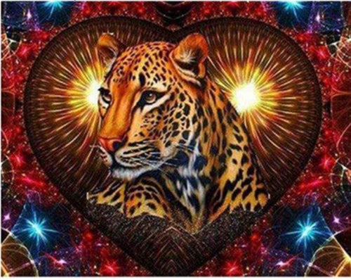 5D Diamond Painting Leopard Heart Kit