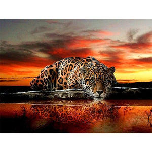 5D Diamond Painting Leopard in the Sunset Kit