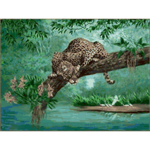 5D Diamond Painting Leopard Watching Kit