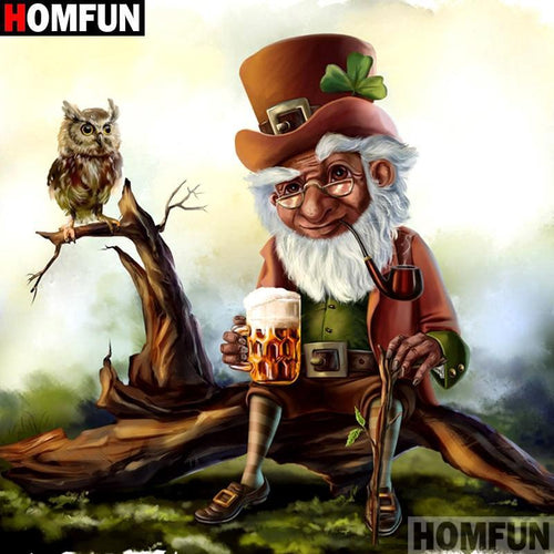 5D Diamond Painting Leprechaun and the Owl Kit