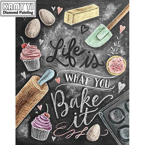 5D Diamond Painting Life is What you Bake It Chalkboard Kit