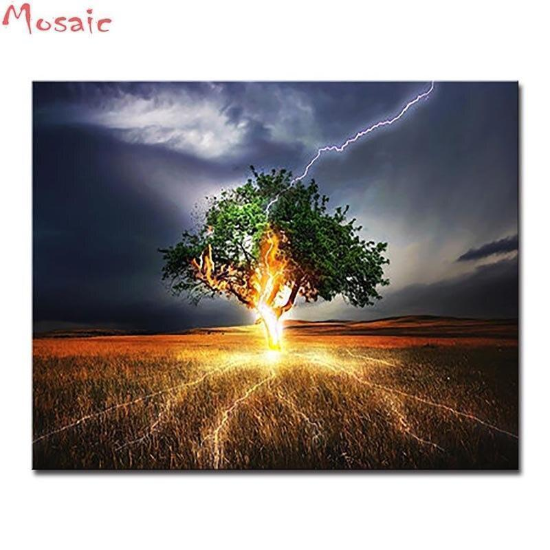 5D Diamond Painting Lightning Tree Kit