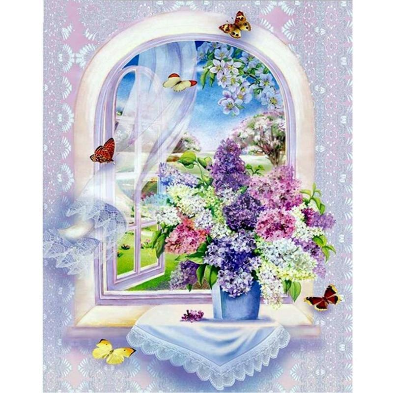 5D Diamond Painting Lilac Bouquet in the Window Kit