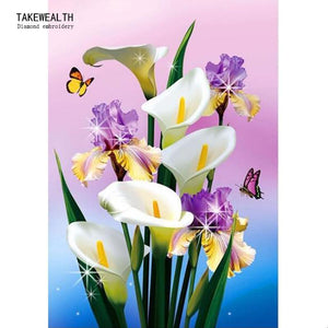 5D Diamond Painting Lily and Iris Bouquet Kit