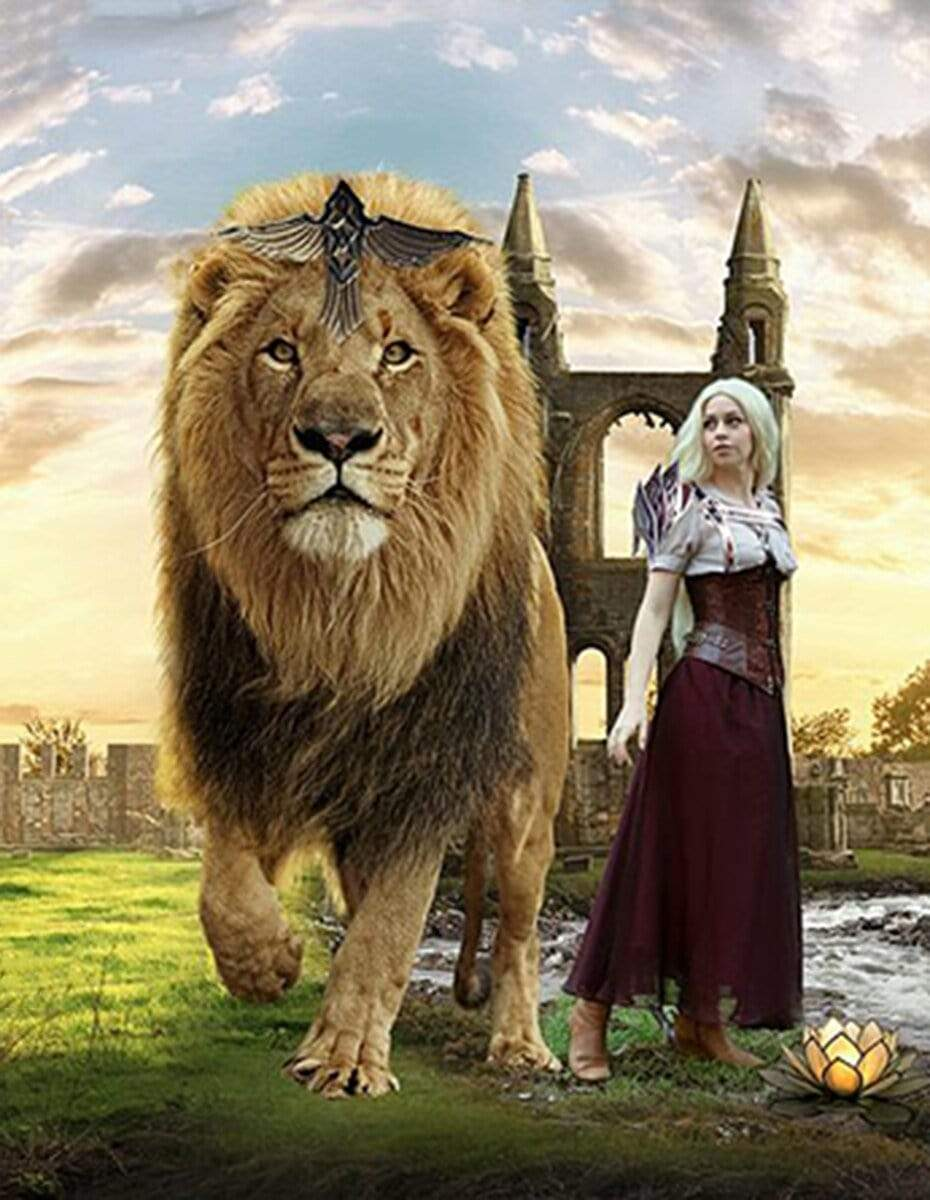 5D Diamond Painting Lion and a Girl Kit