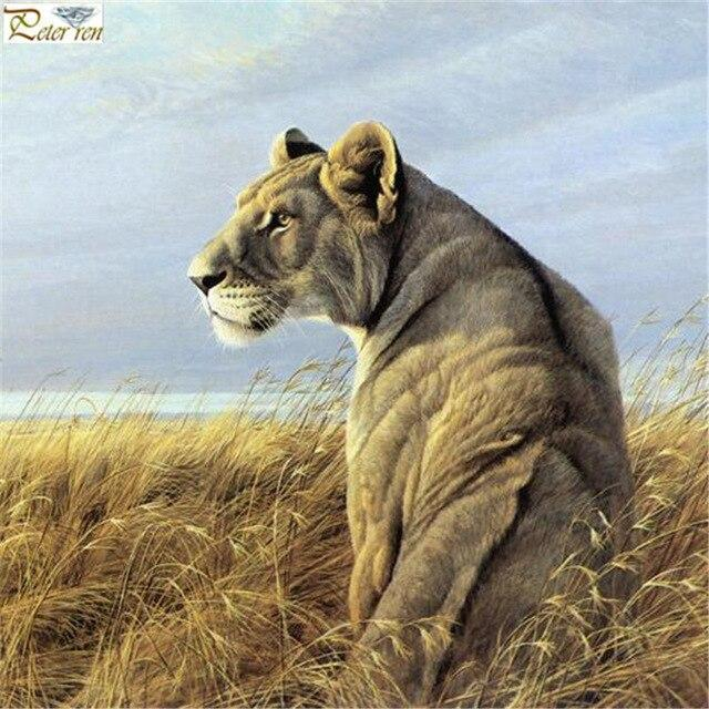 5D Diamond Painting Lion in the Tall Grass Kit