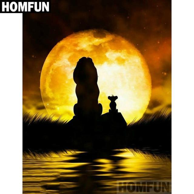 5D Diamond Painting Lion King Simba and Mufasa Silhouette Kit