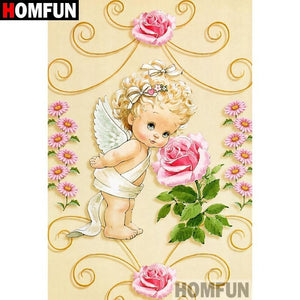 5D Diamond Painting Little Angel Pink Rose Kit