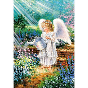5D Diamond Painting Little Angel Watering Flowers Kit