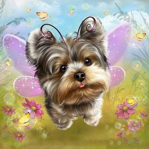 5D Diamond Painting Little Dog Fairy Kit