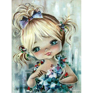 5D Diamond Painting Little Girl Flowers and Bows Kit
