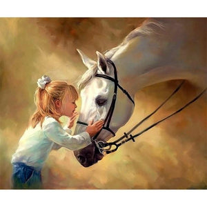 5D Diamond Painting Little Girl Horse Kiss Kit