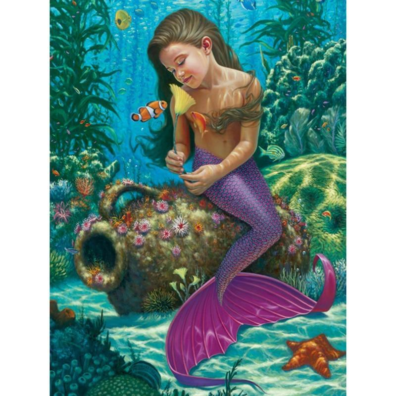 5D Diamond Painting Little Girl Mermaid and the Clown Fish Kit