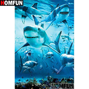 5D Diamond Painting Lots of Sharks Kit