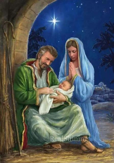 5D Diamond Painting Mary, Joseph and Baby Jesus Kit