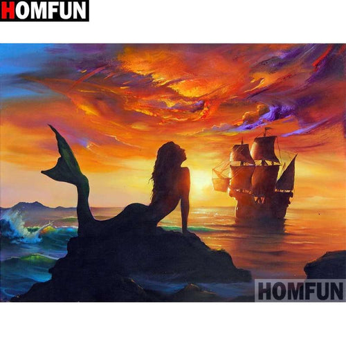 5D Diamond Painting Mermaid and the Ship Kit