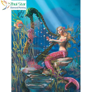 5D Diamond Painting Mermaid Harp Kit