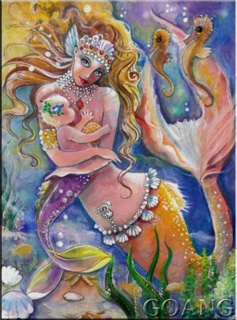 5D Diamond Painting Mermaid Holding a Baby Kit