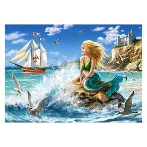 5D Diamond Painting Mermaid Watching Ships Kit