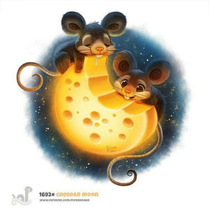 5D Diamond Painting Mice Eating the Cheese Moon Kit