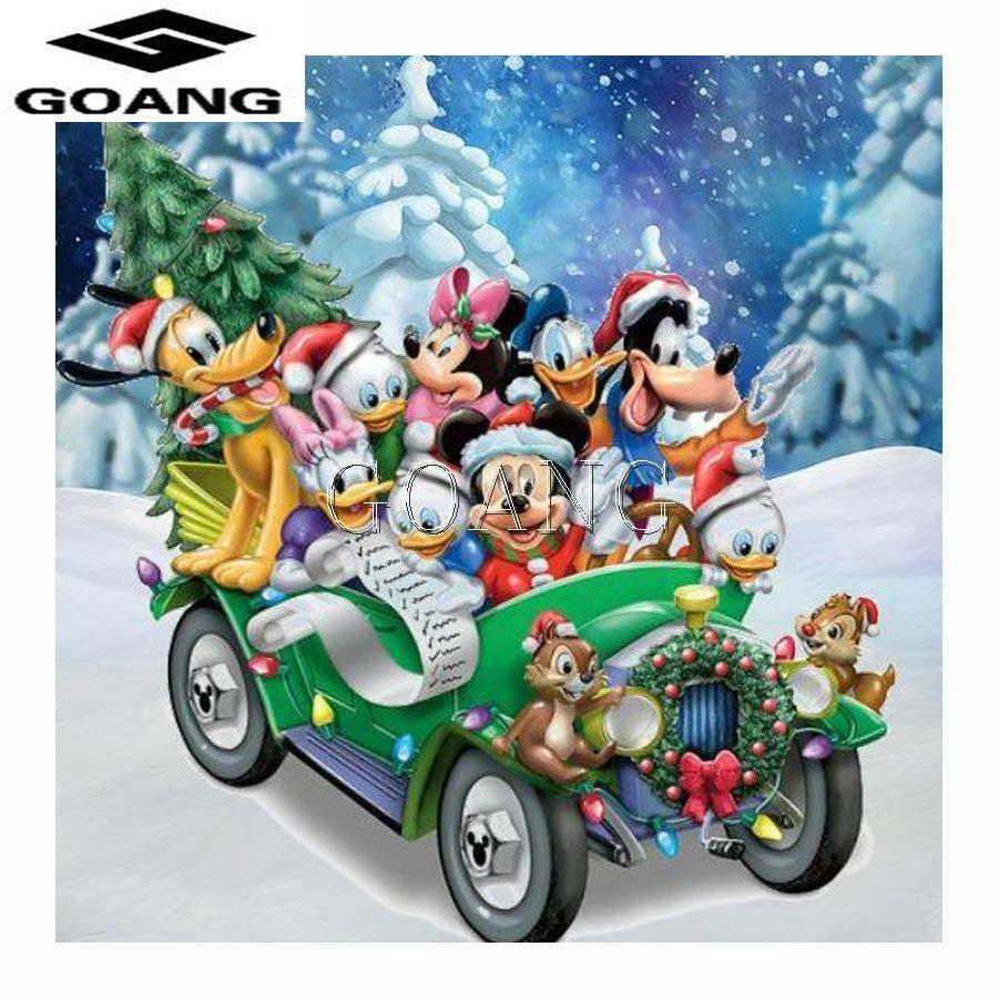 5D Diamond Painting Mickey and Friends Christmas Drive Kit