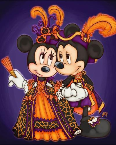 5D Diamond Painting Mickey and Minnie in Costumes Kit