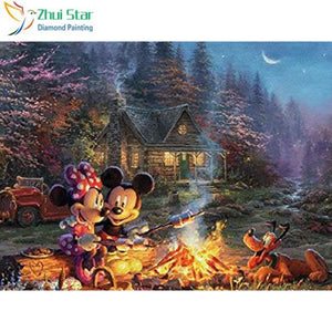 5D Diamond Painting Mickey and Minnie Mouse Campfire Kit