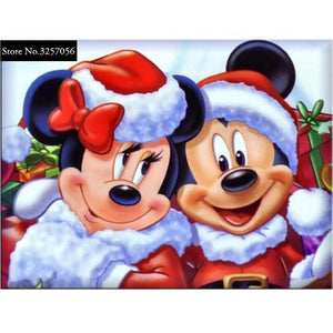 5D Diamond Painting Mickey and Minnie Mouse Santa Costumes Kit